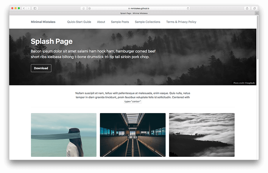splash page layout example