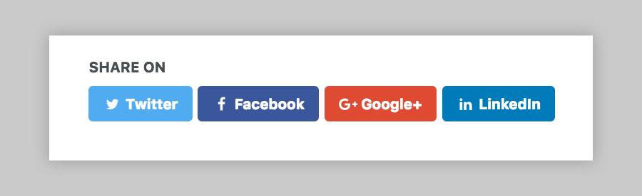 default social share link buttons